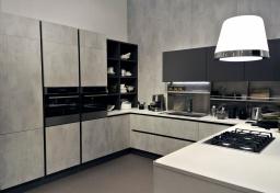 Moderna e piacevole questa finitura grigio cemento o malta che sia...